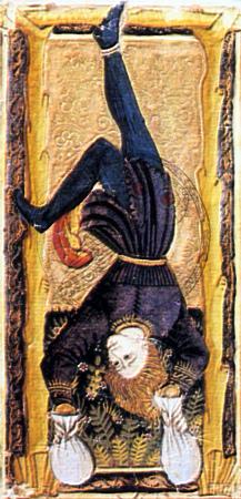 Tarocchi Estensi, conosciuti come Tarocchi di Carlo VI o di Gringonneur. Il personaggio sospeso per un piede stringe in ciascuna delle mani, un sacchetto pieno di monete d'oro, sottolineando la parentela con Giuda